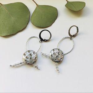 Silver Full Moon Dangle Earrings